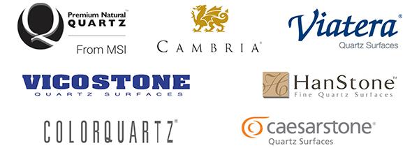 Q Quartz | Cambria | HanStone | VicoStone | ColorQuartz | Viatera | Caesarstone - logos